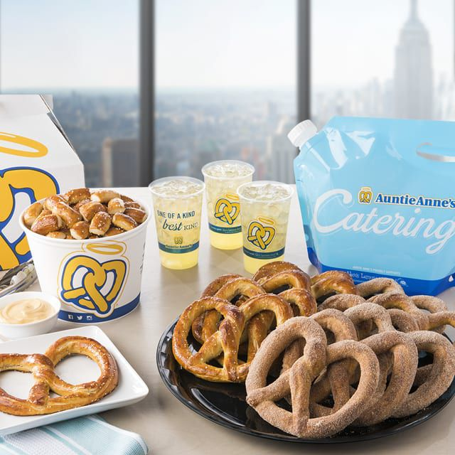 If you don't have hours to plan a celebration of snacks for your office, try Auntie Anne's convenient catering packages of pretzel-wrapped hot dogs and sweet treats.