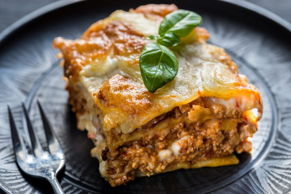 A great idea for Italian catering is meaty lasagna bolognese.