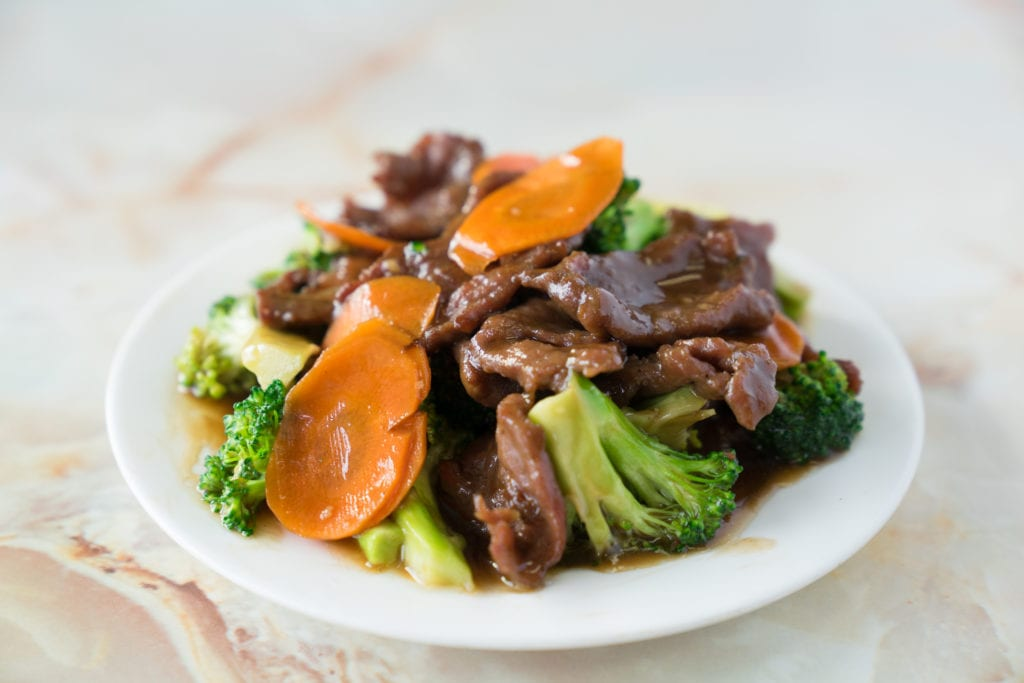 If you need Chinese catering ideas for a casual team meeting, try beef and broccoli.