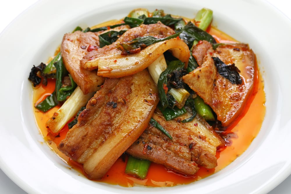 If you're looking for filling catering ideas, consider ordering twice-cooked pork belly, one of the most famous dishes of Chinese cuisine.