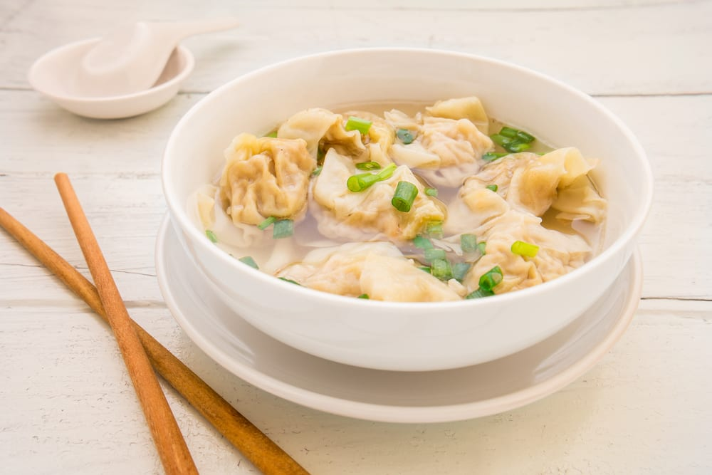 Shake up your next meeting with Chinese catering ideas like this one, wonton soup.