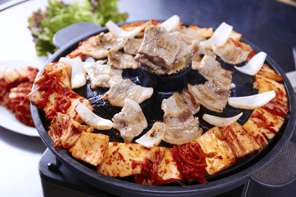 If you need catering ideas for work, consider ordering a platter of Korean food like samgyeopsal.