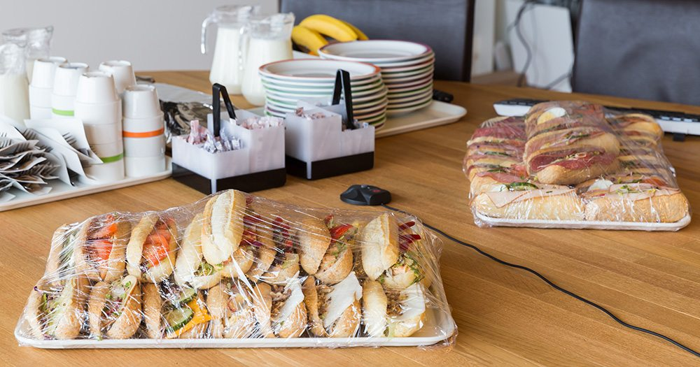 Sandwiches in an office