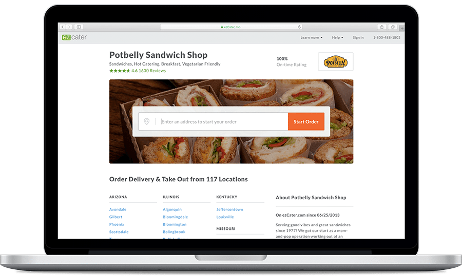 Potbelly Online Ordering Page
