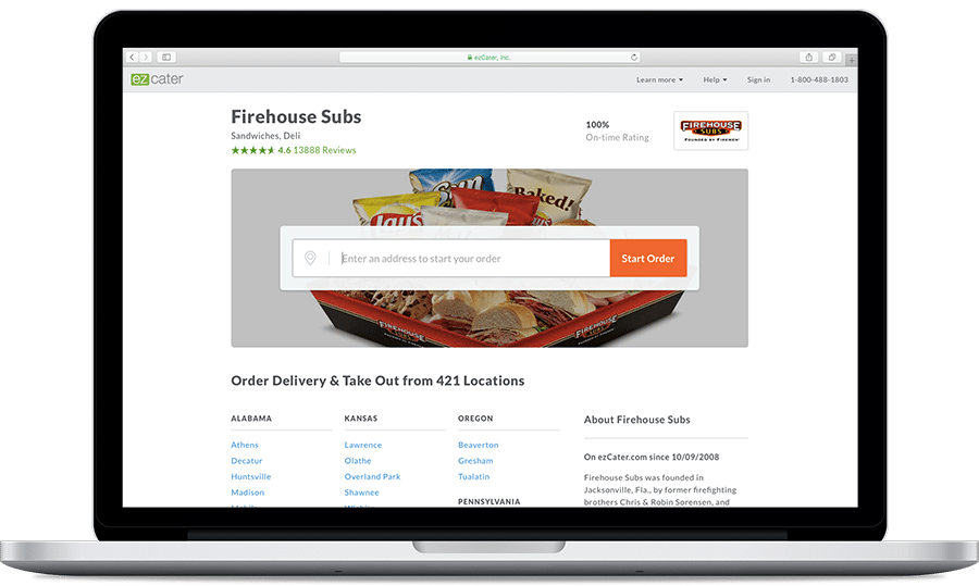 Firehouse Subs Online Ordering Page