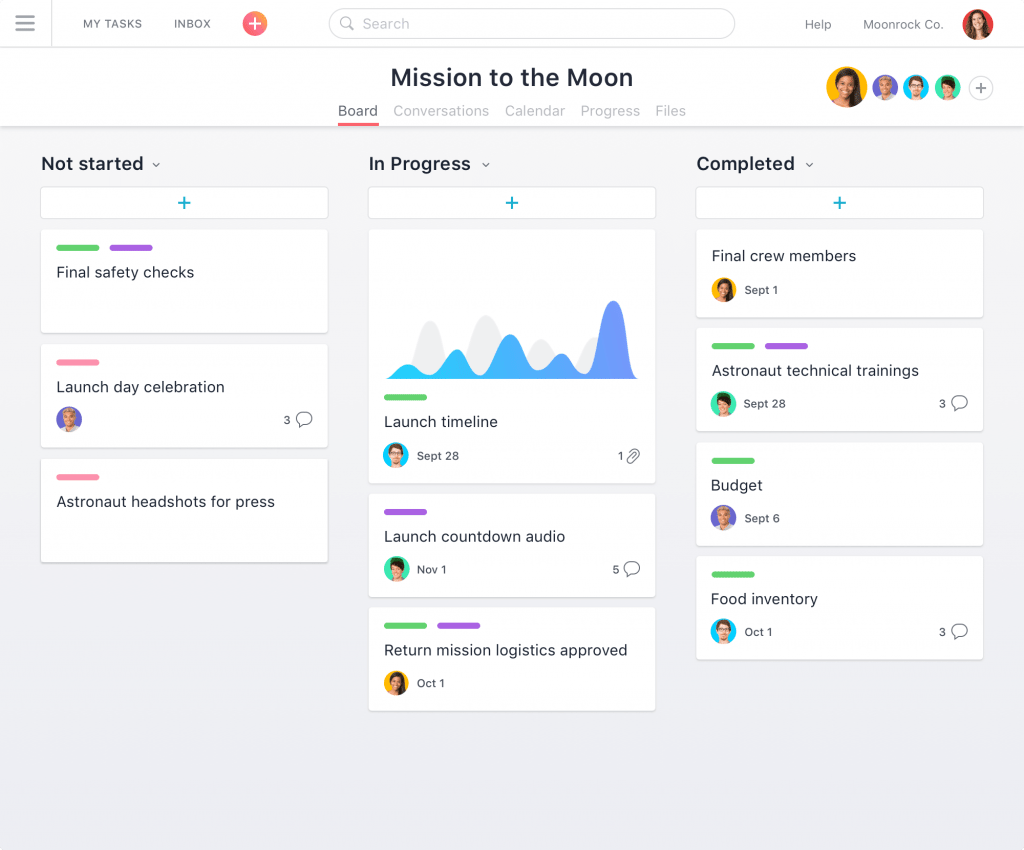 Asana is an online task management tool that helps you break big projects into smaller tasks.