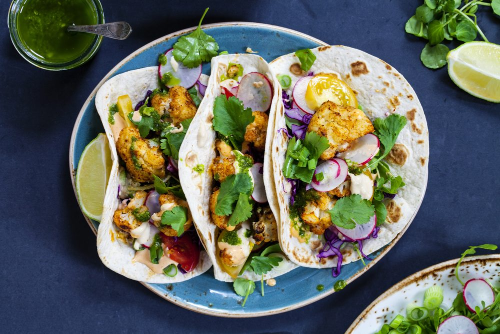 Roast cauliflower tacos are a great vegan catering option.