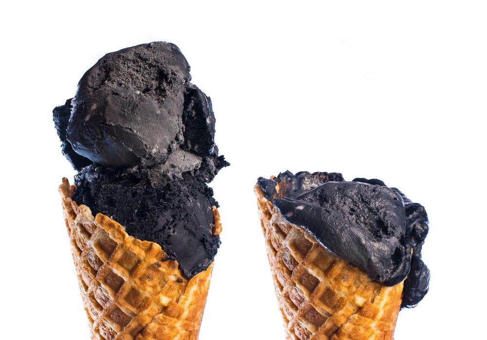 Coconut black ash ice cream is a tasty treat.