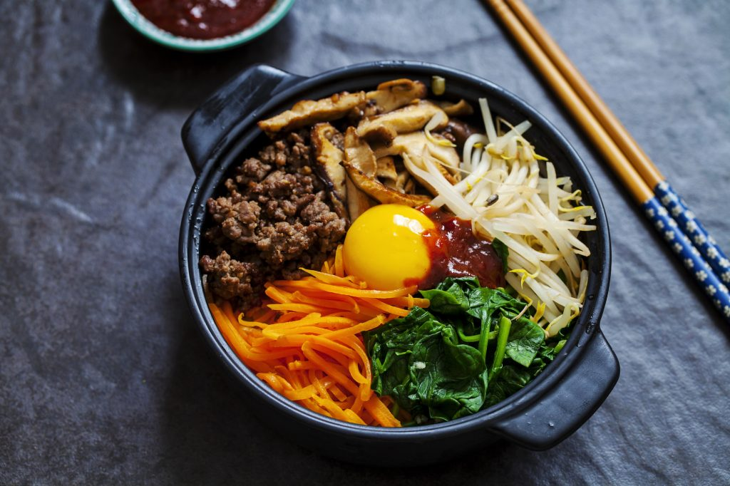 A perfectly balanced meal of meat, rice, and veggies, bibimbap is one of the trendier dishes in catering right now.