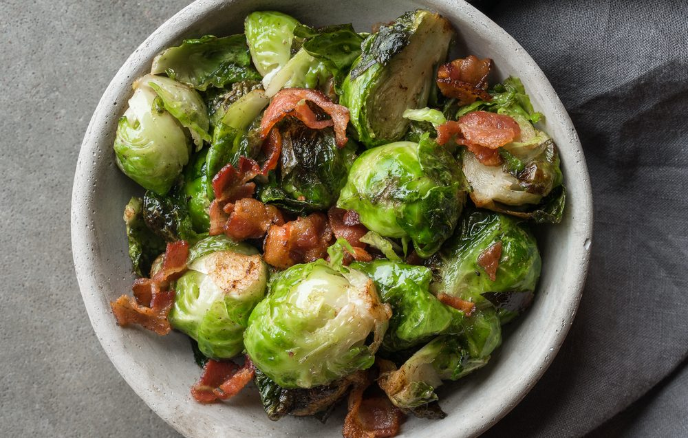 Healthy fresh vegetables and savory bacon make the perfect pair.